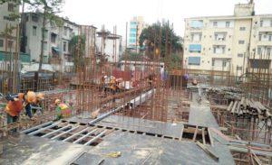 Công tác lắp dựng cốp pha dầm sàn tầng 1 zone 1