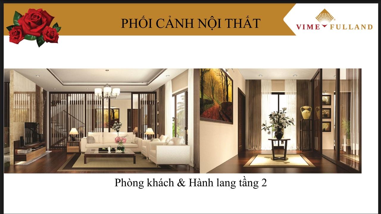 Phối cảnh nội thất Phòng khách và hành lang tầng 2