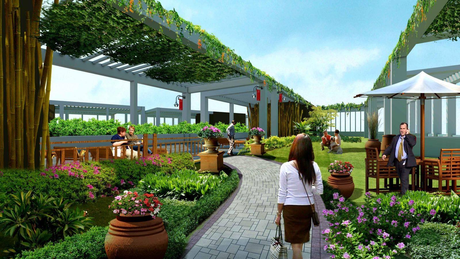 Vườn nội khu dự án Biệt thự Liền kề Green Pearl