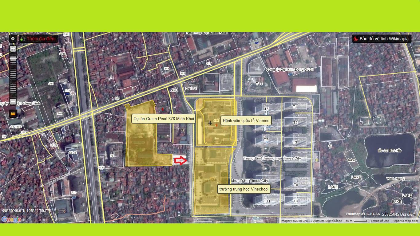 Vị trí dự án Green Pearl 378 Minh Khai