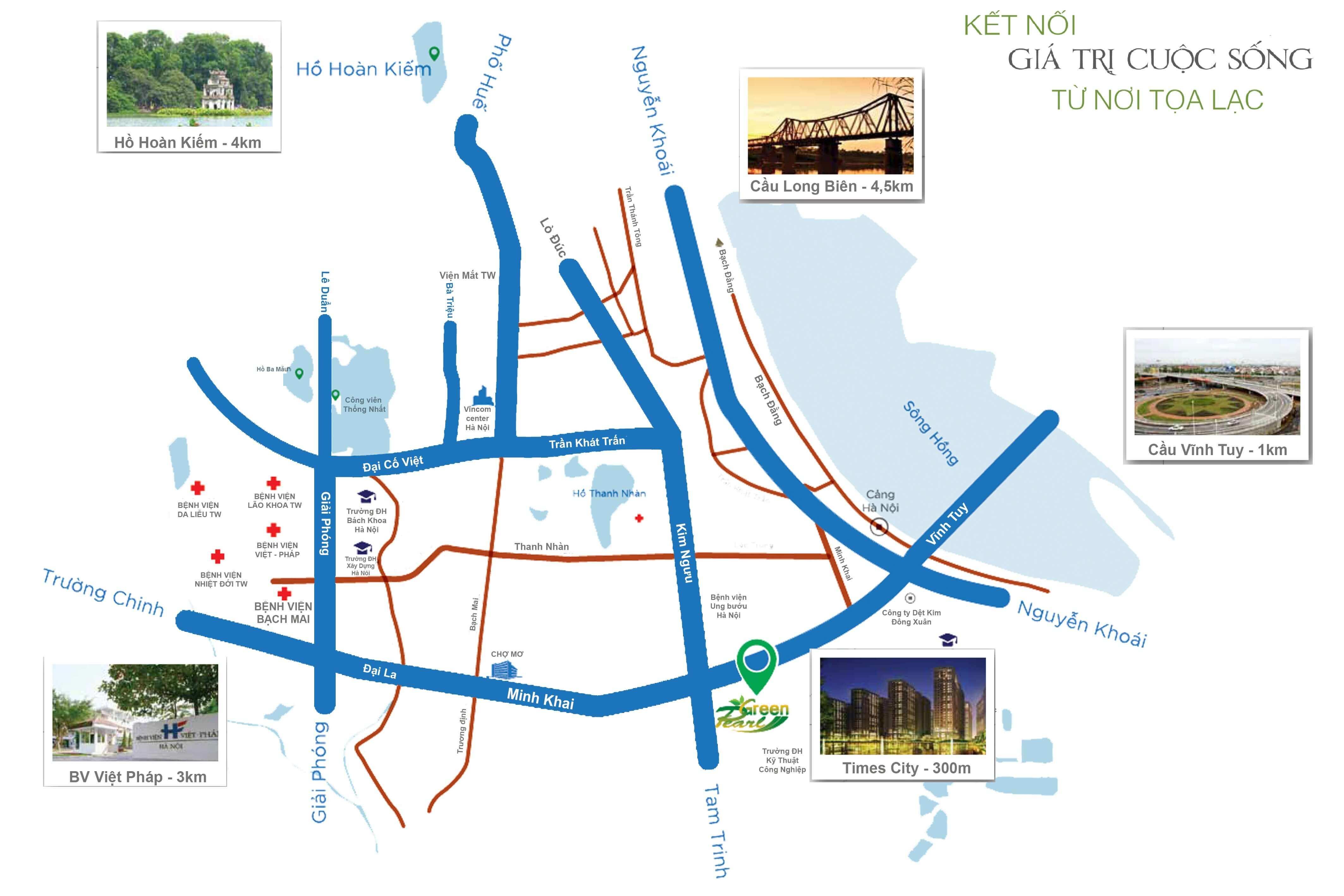 Vị trí dự án Green Pearl ở 378 Minh Khai