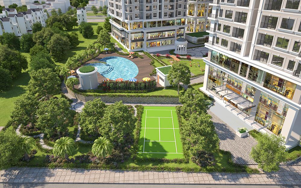 Iris Garden view bể bơi và sân tenis