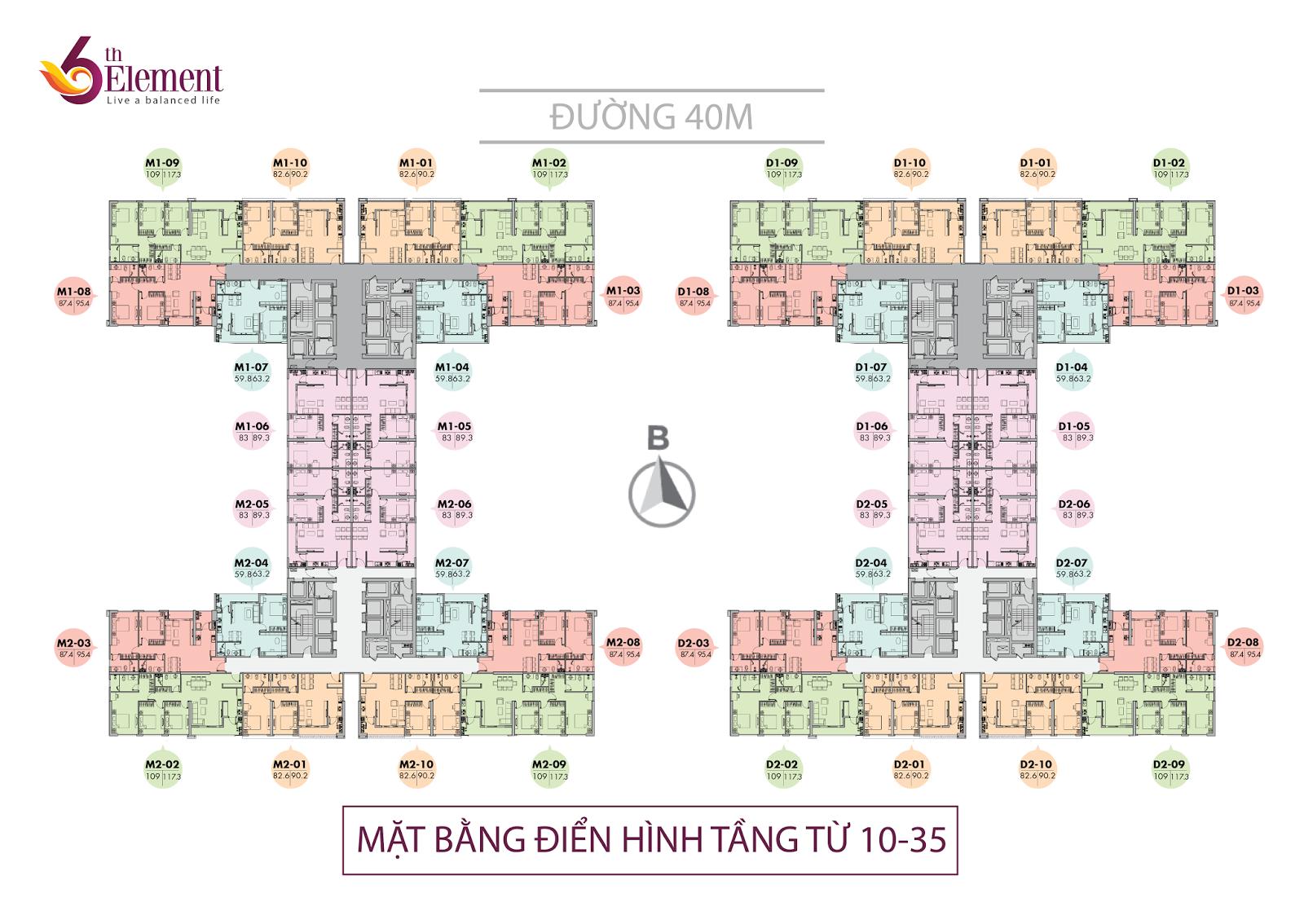 Mặt bằng căn hộ 6th element tầng 10-35