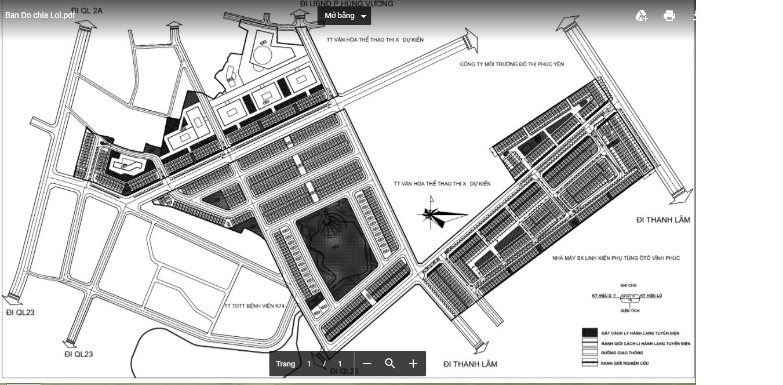 Mặt bằng chia lô dự án TMS Grand City Phúc Yên