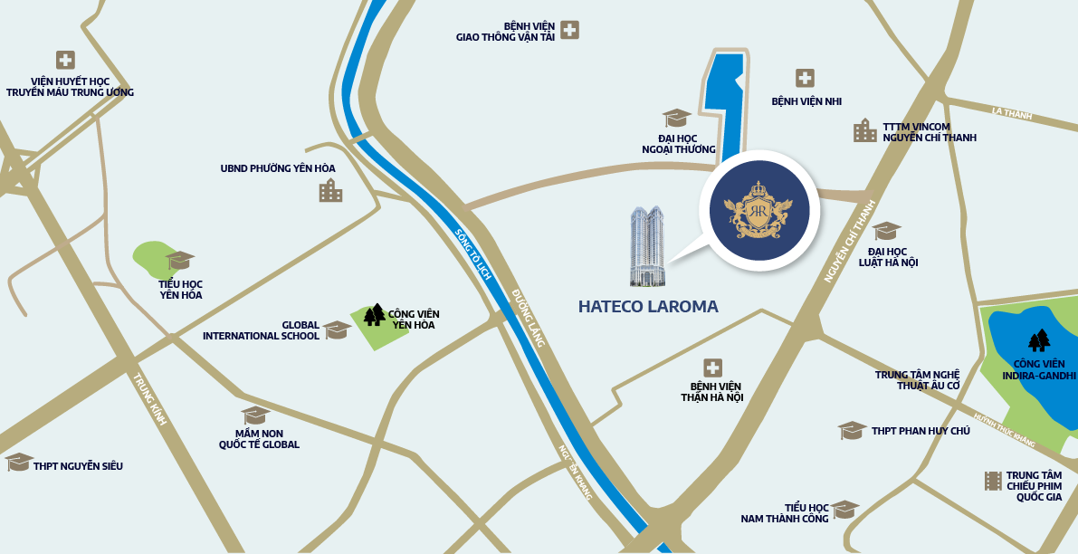 Hateco La Roma nằm tại số 4A Huỳnh Thúc Kháng, Hà Nội