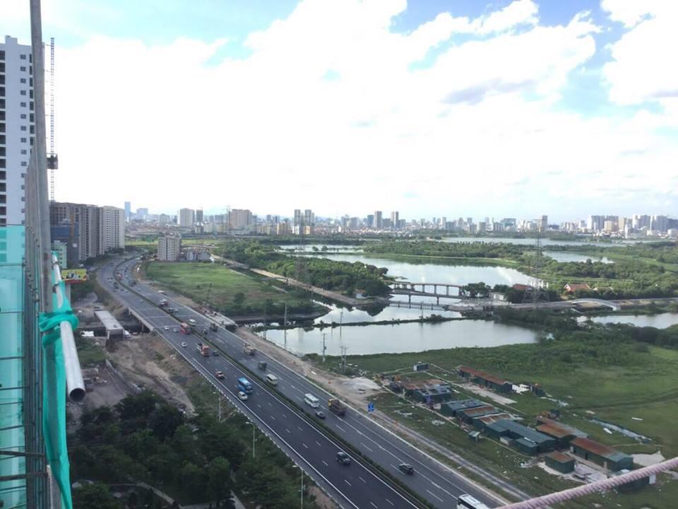 Góc view đường cao tốc Pháp Vân - Cầu Giẽ tại nóc tòa Sakura Hồng Hà Eco City