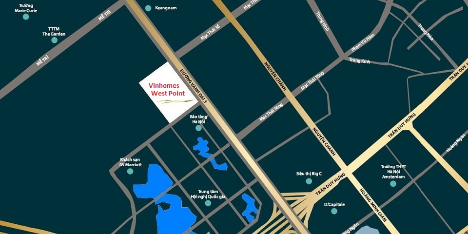Vinhomes West Point nằm tại mặt đường Phạm Hùng, nút giao Đỗ Đức Dục