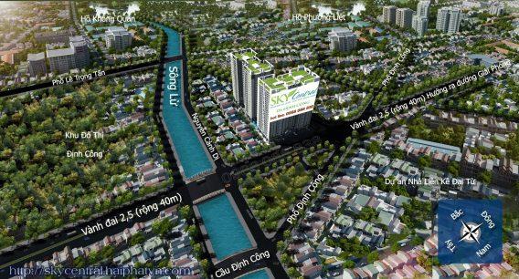 Dự án Sky Central 176 Định Công nằm trong khu vực quy hoạch tốt, là dự án duy nhất có 5 đường vào dự án