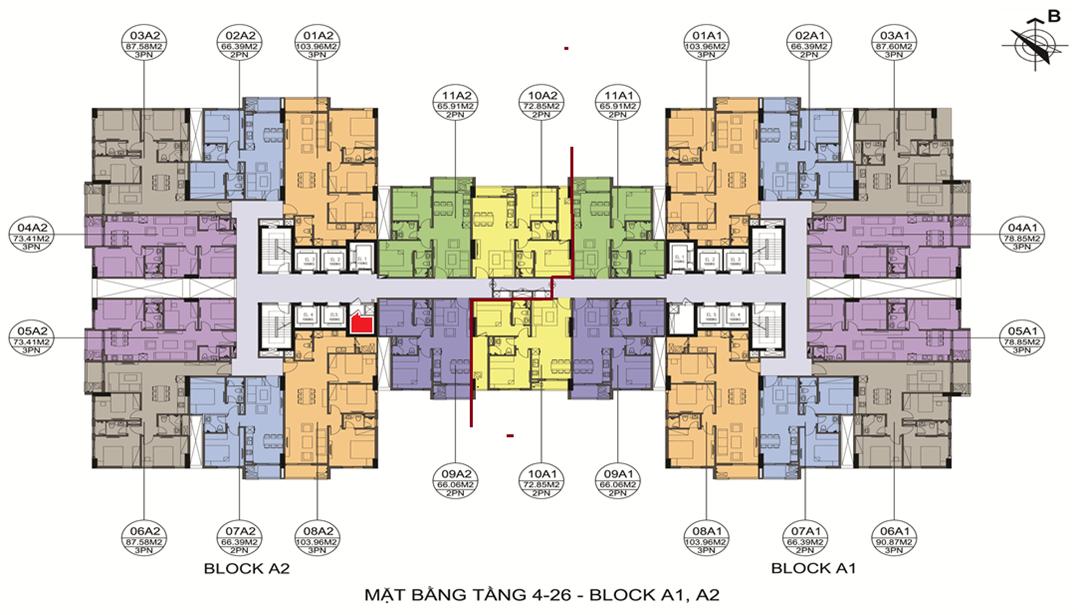 Mặt bằng tòa A gồm 02 đơn nguyên A1 và A2