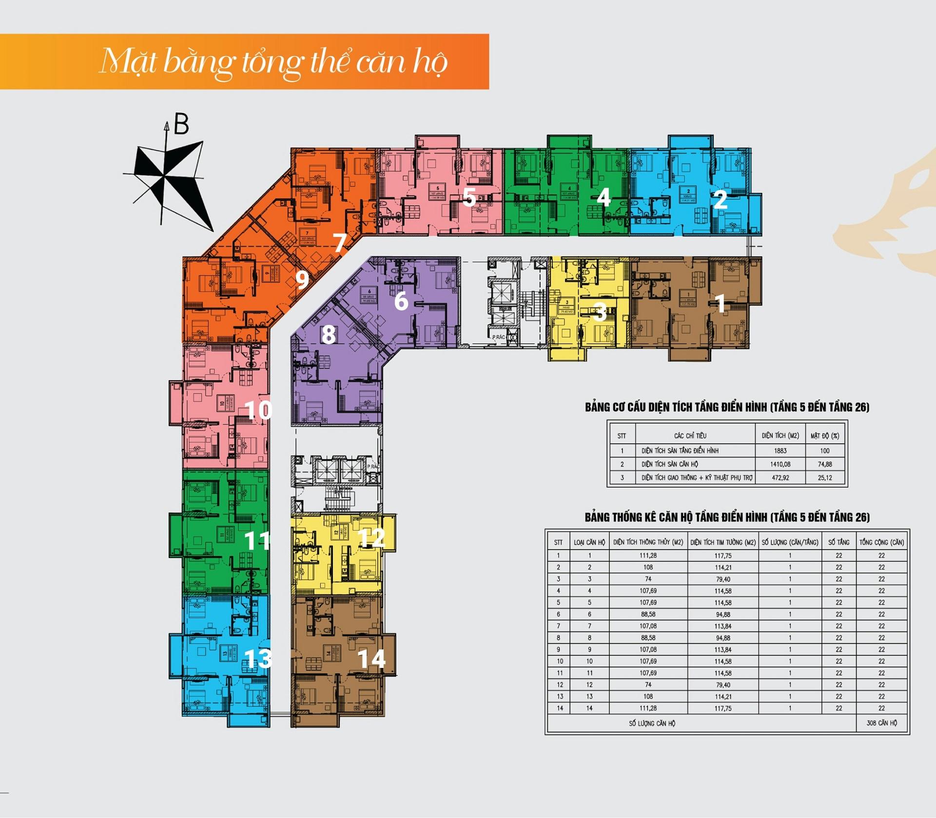 Mặt bằng điển hình căn hộ Thăng Long City tầng 05-26