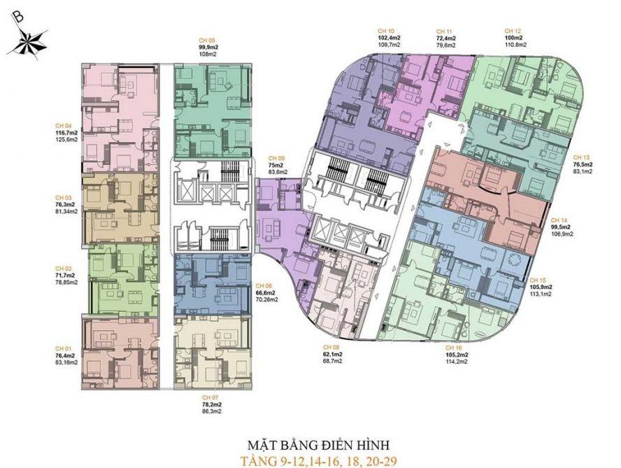 Mặt bằng căn hộ Manhattan Tower tầng 9-12, 14-16, 20-29
