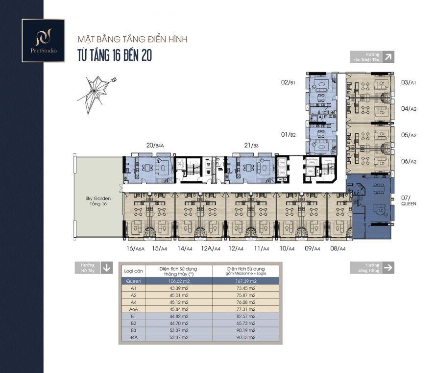 Mặt bằng tầng 16-20 căn hộ Pentstudio Tây Hồ
