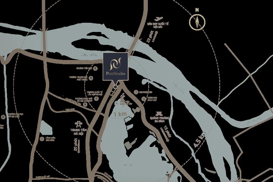 Vị trí dự án Pentstudio Tây Hồ