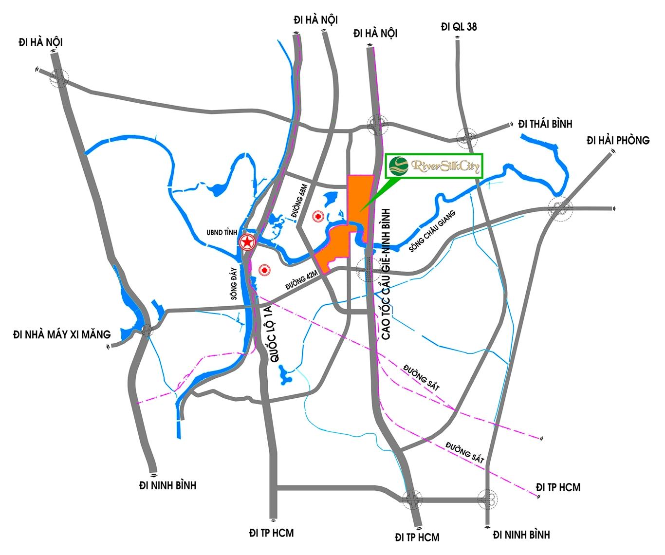 Vị trí dự án River Silk City Phủ Lý Hà Nam