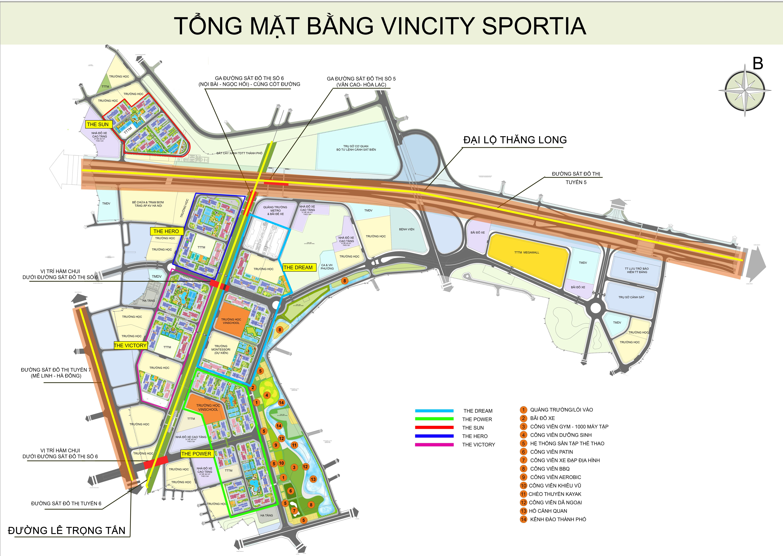 Mặt bằng tổng thể dự án Vincity Sportia Tây Mỗ Đại Mỗ