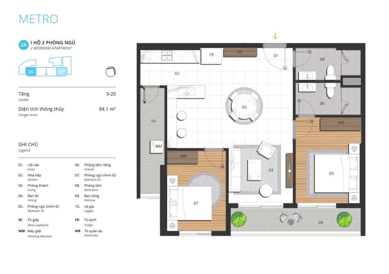 thiết kế căn hộ 84m2 Metro Kosmo