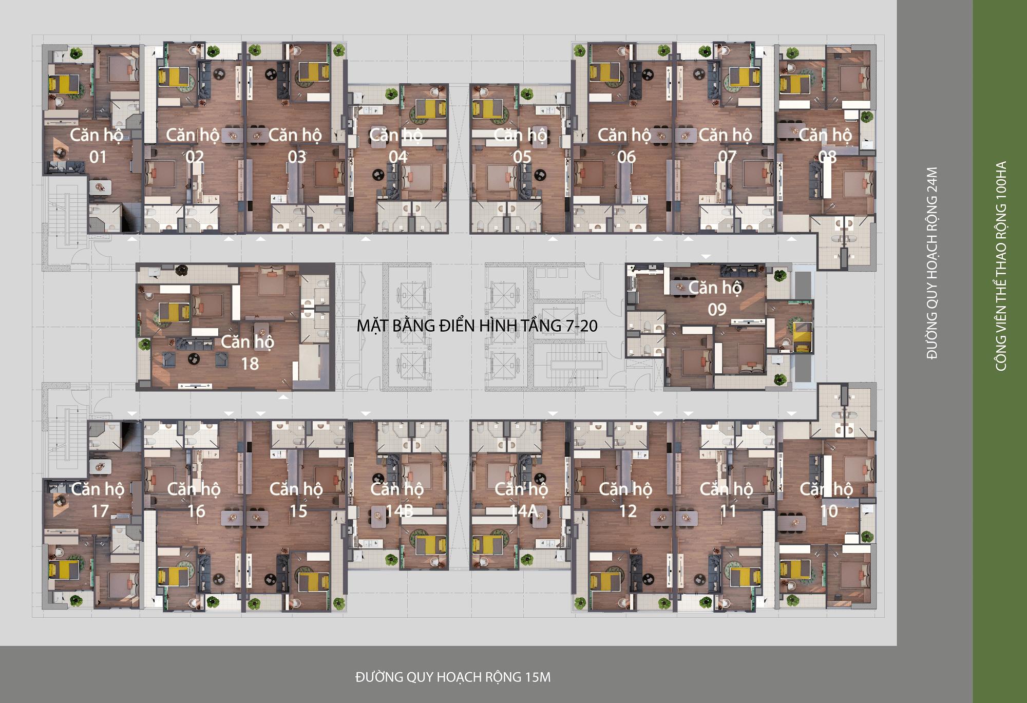Mặt bằng điển hình căn hộ Phú Thịnh Green Park