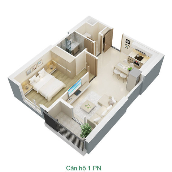 Thiết kế căn hộ 1 phòng ngủ tại chung cư Mỹ Đình Pearl
