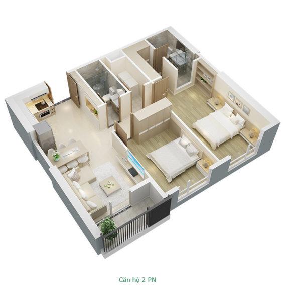 Thiết kế căn hộ 2 phòng ngủ tại chung cư Mỹ Đình Pearl