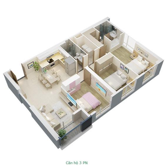 Thiết kế căn hộ 3 phòng ngủ tại chung cư Mỹ Đình Pearl