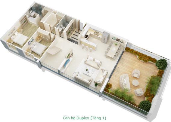 Thiết kế căn hộ Duplex tầng 1