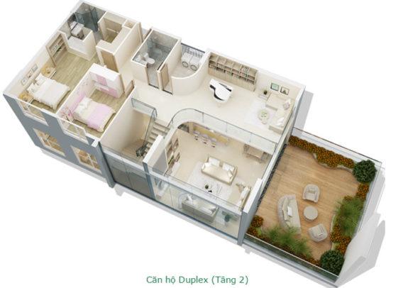 Thiết kế căn hộ Duplex tầng 2