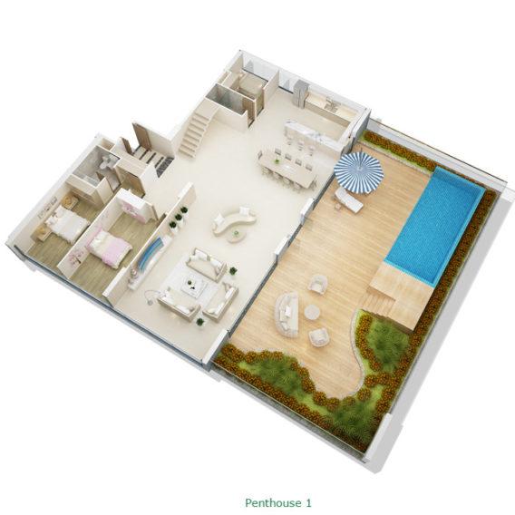 Thiết kế căn hộ Penhouse tầng 1