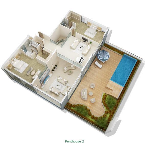 Thiết kế căn hộ Penhouse tầng 2